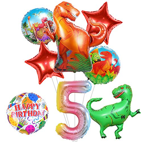 "8Pcs Large Dinosaur Balloons Party Supplies, 43"" Dinosaur Mylar Balloon for Dinosaur Theme 5th Birthday Party Decorations, Baby Shower, Home Office Decor, Birthday Backdrop"