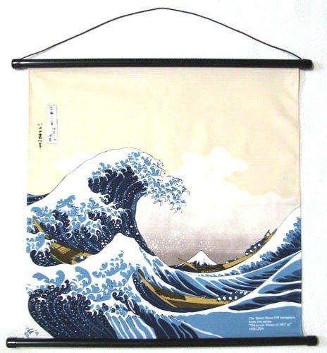 日本のお土産 和風インテリア 海外おみやげ 浮世絵タペストリー 葛飾北斎 波裏に富士
