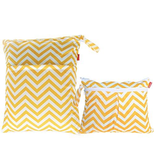 Damero 2pcs Sacchetto del pannolino lavabile con zip impermeabile, Yellow Chevron
