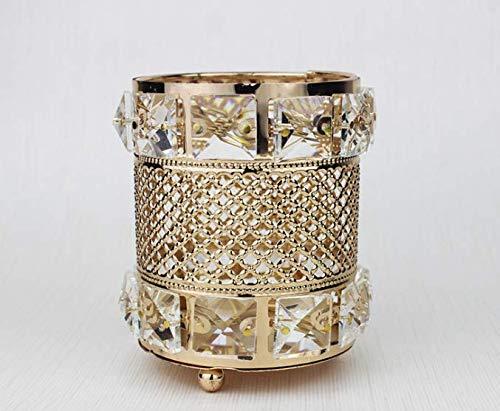 Organizador de brochas de maquillaje de cristal con forma de florero de cristal para decoración y almacenamiento (dorado)
