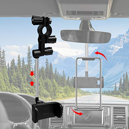 """Universal Car Phone Holder, 360° Rotating Retractable Rearview Mirror Car Phone Mount, Adjustable for 70mm-100mm Width Phones Universal 4.0""""- 6.1"""" Phone Holder Stand Car Headrest Mount - Black"""