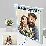 Foto personalizada en madera de pino natural con diseño para el día del Padre. (20x20 cm.)