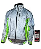 Showers Pass Men's 3M Scotchlite Hi-Vis Torch Waterproof Cycling Jacket (Reflective Silver/Neon Green - Large)