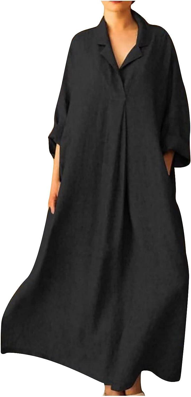 Women Dress Casual Long Sleeve Autumn V-Neck Solid Bohemian Loose Comfy A-Line Ankle-Length Long Dress