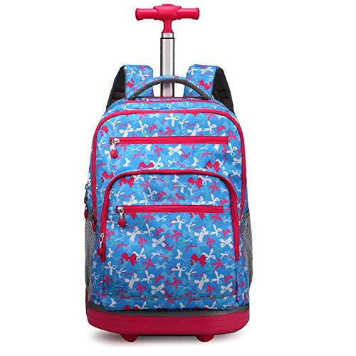 YQY Wheeled Backpack Adorable Trolley School Bag Luggage on Wheels Kids Trolley Backpack Rolling School Backpack for Boys