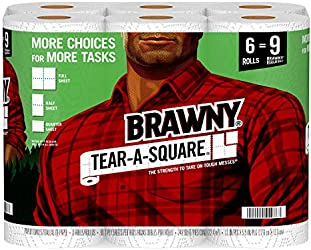 Brawny Tear-A-Square Paper Towels, 6 Giant Rolls = 9 Regular Rolls, 3 Sheet Size Options, Quarter Si