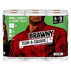 Brawny Tear-A-Square Paper Towels, 6 Giant Rolls = 9 Regular Rolls, 3 Sheet Size Options, Quarter Si