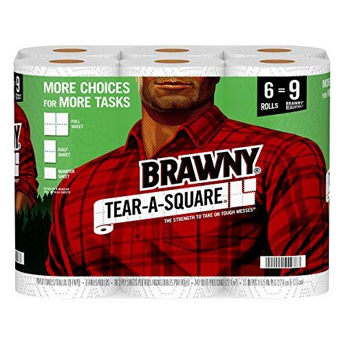Brawny Tear-A-Square Paper Towels, 6 Giant Rolls = 9 Regular Rolls, 3...