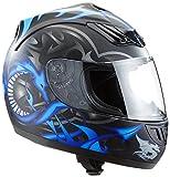 Protectwear H510-11BL-L Casco Integrale da Moto, Multicolore (Nero/Grigio/Blu (Drago)), L (59-60 cm)