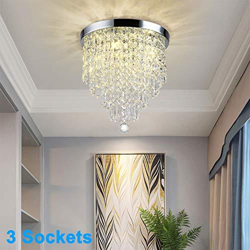 Foyer Hallway 2 Light Modern Crystal Ceiling Light Fixture Semi Flush Mount For Bedroom Closet Chrome Finish Entryway Dllt Crystal Chandelier Lighting Grupotra Com Br