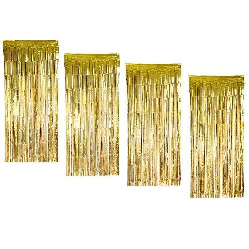 4 Pack - Metallic Tinsel Gordijnen Folie Fringe Shimmer Streamers Gordijn Deur Raamdecoratie voor Verjaardag Bruiloft Feestartikelen 2M * 1M - Goud