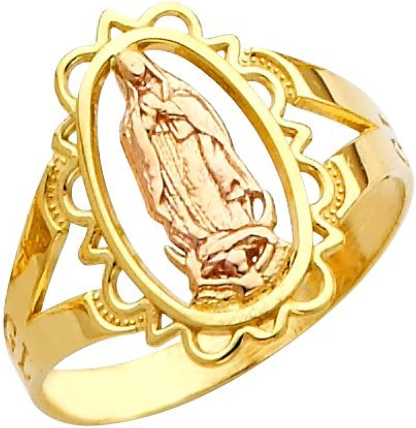 10k TwoTone Yellow and pink gold Oval FiligreeStyle Charm Blessed Mother Mary Ring