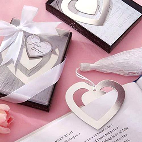 Metall Lesezeichen Herzen Formen hohlen Silber Metallic Lesezeichen mit eleganten Quaste für Bücher, Hochzeit Bevorzugungen (2 Satz)