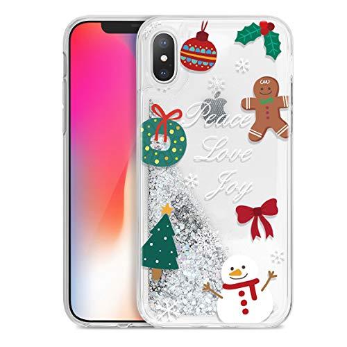Yoedge Funda para Apple iPhone XS MAX, Glitter Liquida Silicona Cárcasa Navidad con Dibujos Bling Brillante...
