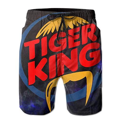 Joe Exotic Tiger King Herren 3D Bedruckte Strandshorts mit Taschen Shorts Badehose Quick Dry