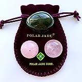 Nephrite Jade Yoni Egg and Rose Quartz Kegel Balls Bundle, for Women to Strengthen Pelvic Floor...
