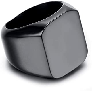 Men's ring polished with black titanium color