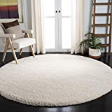 Safavieh Milan Shag Collection SG180 Solid 2-inch Thick Area Rug, 3' x 3' Round, Ivory