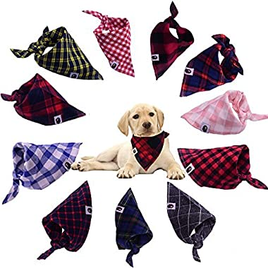 TAOBABY 8pcs/pack Classic Pet Dog Bandanas Washable Triangle Plaid Adjustable Dog Scarf Bow Tiess