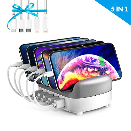 ORICO USB Charging Station Dock 5-Port Fast Charging Dock for Multiple Devices, Smart Charger Organizer with 5 Short Charger Cables Compatible for Apple iPad iPhone Android Phone (White - 5 USB Port)