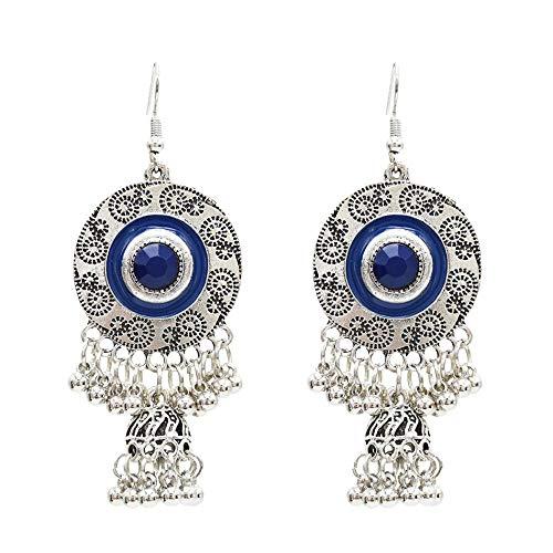 Pendientes de estilo étnico retro europeo y americano personalidad de la moda tiro callejero recuerdo de viaje pendientes de campana joyería-azul