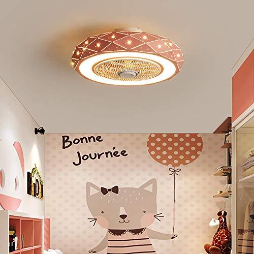 Ventilador de techo LED moderno con iluminación, luces de ventilador de techo con control remoto, ventilador invisible con iluminación, 3 colores cambiantes para las habitaciones para niños-Rosa