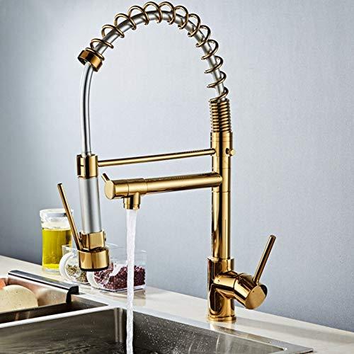 YHSGY Grifos de cocina Golden Chrome Spring Pull Down Kitchen Faucet Dual Spouts 360 Rotation Single Handle Grifo Mezclador De Cocina Dos Salidas Grifos De Cocina