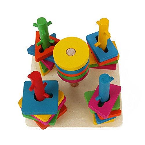 BOZEVON pädagogische Kinder Hölzerne Stadt Verkehrsszene Spielzeug, Bausteine Lernspielzeug