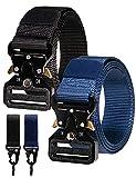 RBOCOTT Cinturón Táctico Militar Nylon Adjustable,Cinturón Automático para Hombre,Cinturones para exteriores,Cinturón de liberación Rápida,Cinturón Negro,Azul (125CM)