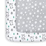 Mini Crib Sheets, 2 Pack Pack and Play Sheets, Stretchy Pack n Play Playard Fitted Sheet, Compatible with Graco Pack n Play, Soft and Breathable Material, Stars & Bunny