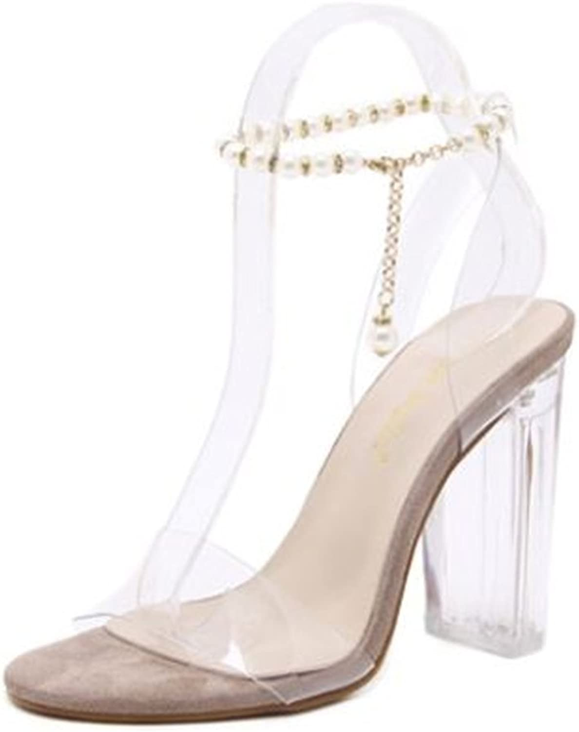 pink town Women Sandals Bling 8cm High Heels Clear Peal Summer Square Heel Women shoes Wedding shoes
