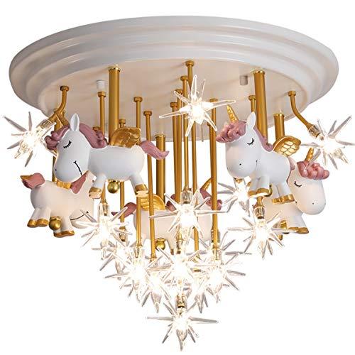 LED Lámpara de Techo Lampara Infantil Moderno Simple Estilo Luz de Techo Unicornio de Dibujos Animados Personalidad La Moda Niño Niña Luz de Dormitorio Acrilico Iluminación Decoración,Blanco,G4