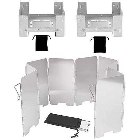 FKOUT 固形燃料ストーブ 風除板 ウインドスクリーン 軽量 折りたたみ式 アウトドア バーベキュー用 防災グッズ 携帯便利登山 ソロキャンプ ポケットサイズ コンパクト 野外 収納袋付き