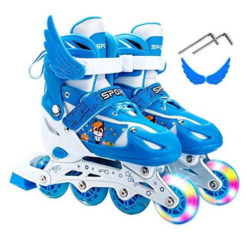 HAIRCURLER Inline Skates, Roller Skates for Kids, Illuminating Rollerblades with Detachable Wings Inline Skates Size Adjustable Light Up Roller Skates Roller Blades for Kids and YouthBlue-M 33~37