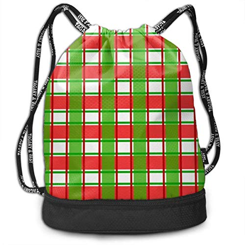 DCVFB Sport Gym Tasches with Drawstring Folding Sack Rucksack - Red and Green Scotch Christmas Pattern