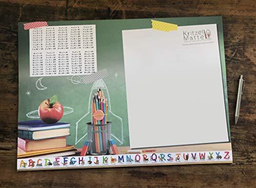 Schreibtischunterlage DIN A2 Papier XXL 1x1 ABC KRITZELMATTE Schreibunterlage mit 25 Blatt Papier zum Abreißen für Kinder und Erwachsene (1 Stück)