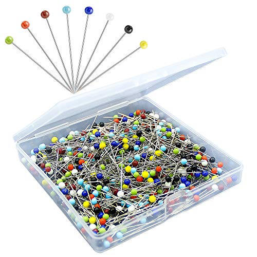 500PCS Sewing Pins for Fabric, Straight Pins with Colored Ball Glass Heads Long 1.5inch, Quilting Pins for Dressmaker, Jewelry DIY Decoration, Craft and Sewing Project by Sunenlyst