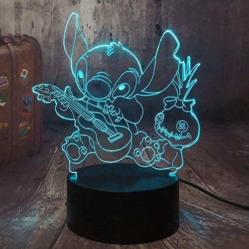 Lámpara de ilusión 3D, puntada de dibujos animados Luz nocturna LED 3D Happy Stitch, tocar guitarra con amigos scrapmp Lámpara de escritorio para dormir Decoración del hogar regalo de niño