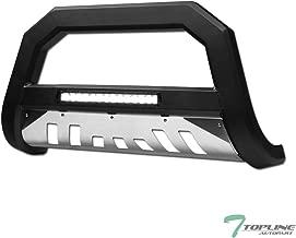 Topline Autopart Matte Black AVT Style Aluminum LED Light Bull Bar Brush Push Front Bumper Grill Grille Guard With Stainless Skid Plate For 10-18 Toyota 4Runner