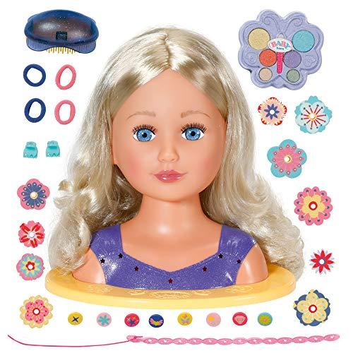 Zapf Creation 828694 BABY born Sister Styling Head 2-in-1 Frisierpuppe und Schminkkopf, hochwertige Haare, Styling-Zubehör und Schminke für Kind und Puppe, 35 cm Höhe