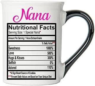 Cottage Creek Nana Mug Large 18 Ounce Ceramic Nana Coffee Mug/Food Label Mug Nana Cup Nana Gifts [White]