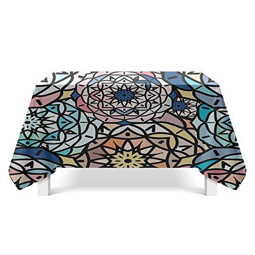 DREAMING-Retro Geometrische Figur Kunst Tischdecke Home Esstisch Stoff Tv-Schrank Couchtisch Stoff Runde Tisch Tischset 110cm * 170cm