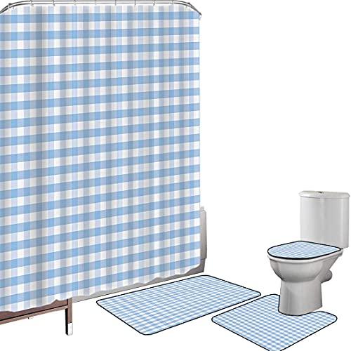 Juego de cortinas baño Accesorios baño alfombras A cuadros Alfombrilla baño Alfombra contorno Cubierta del inodoro Pequeños cuadrados y rayas Color pastel Rayas de repetición de guinga Baldosa vintage