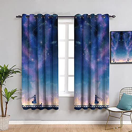 Total Window Treatments Cortinas de impresión encantadora pintura de personajes, cortina anime marinero luna niñas eficiente energéticamente panel de cortina con ojales de 55 x 45 cm