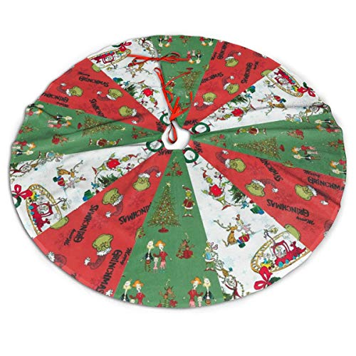 Milarz Grinch Tree Skirt 48inch Red and Black Check Plaid White Christmas Tree Skirt The Grinch Christmas Decorations Rustic Burlap Xmas Party Supplies Holiday Tree Ornament for Gift