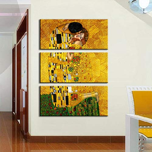Zkkpainting Wall Art Olieverf Canvas Prints Pictures Home Decor Framework 3 stuks Gustav Klimt Paintings Wall Art for Living Room That First Kiss Poster