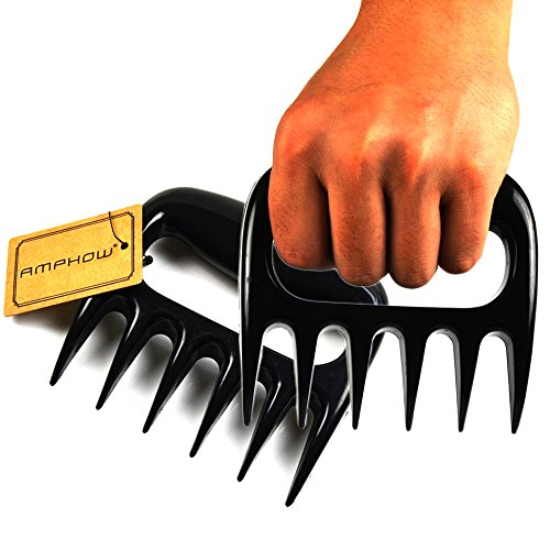 AMPHOW BBQ Meat Claws Pulled Pork Shredder Claws, Barbecue Handler Shredding Carving Food Forks,Black, (Pack of 2)