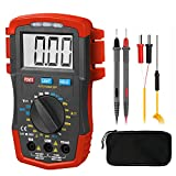 HOLDPEAK Amp Ohm Capacitor Tester HP-37A, Digital Multimeter Tester with Auto Backlit Manual Ranging for DC & AC Voltage, Resistance, Temperature, Battery test, Positive Diode Voltage ℃ Reading (Red)