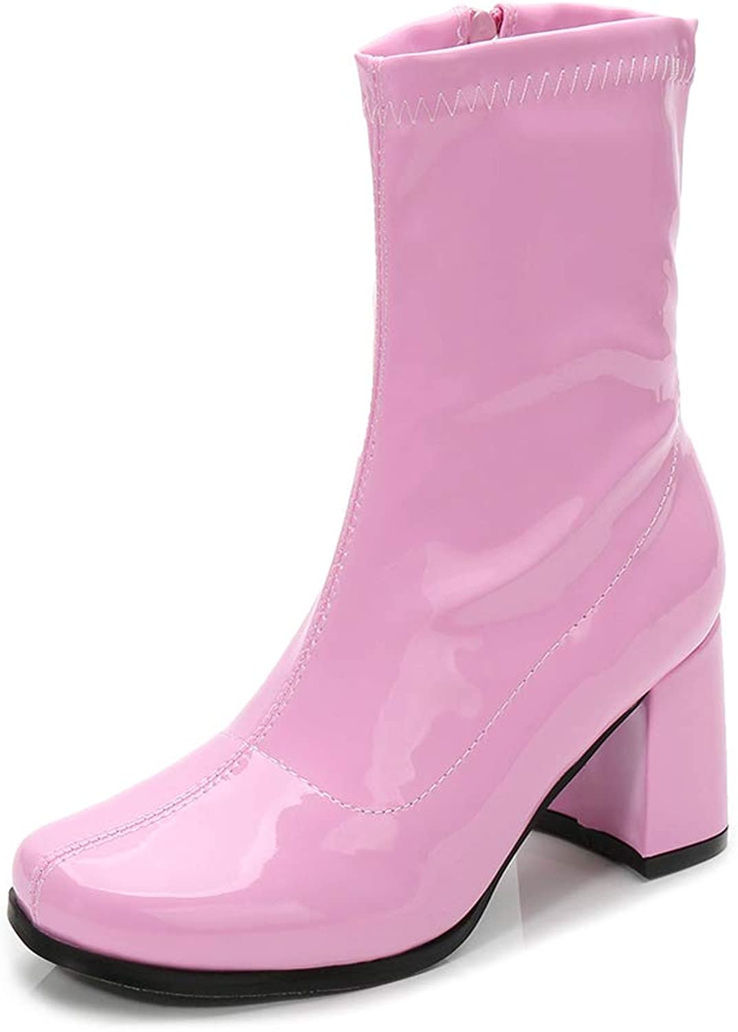 LIURUIJIA Women's Go Go Boots Over The Knee Block Heel Zipper Boot Pink-36-GM-SC
