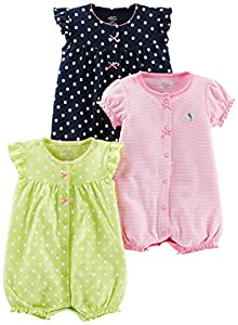 Simple Joys by Carter's Baby Girls paquete de 3 pelele de ajuste ,Navy Dot/Pink Stripe/Yellow Dot ,12 Meses
